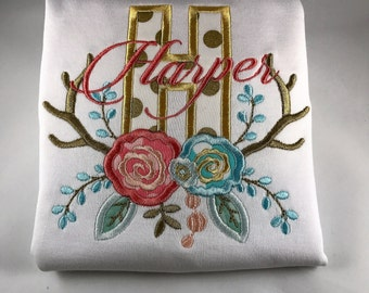 Toddler/Girls Antler Initial Shirt/backpack/diaperbag