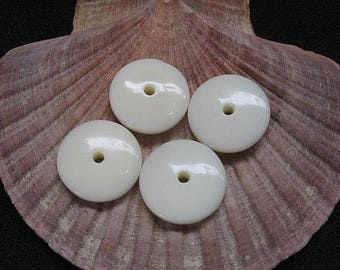 Vintage Lucite Beads Ivory Color and Button Pattern 18.5mm x 5mm - Four