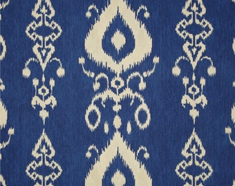 Ikat Blue Window Treatment Curtain Rod Pocket Draperies Blue and Ivory Curtains