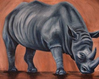 Rhino on textured surface - Original Oil Painting