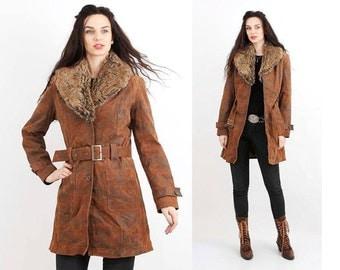 Vintage Sherpa Coat / Shearling Jacket / Brown Leather Winter Jacket / Fur Collar Women Coat / M