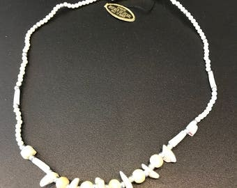 Vintage genuine mother of pearl with bone color beads necklace handmade #100