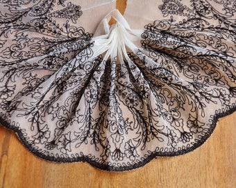 Ivory Tulle Lace Trim Black Aulic Floral Embroidered Lace Trim 5.9 Inches Wide 2 Yards Costume Supplies
