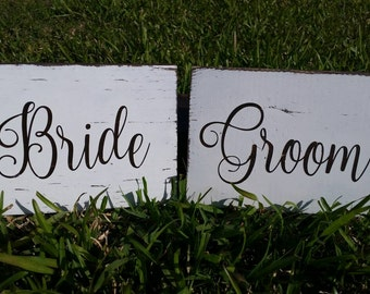 Bride and Groom Sign, Rustic Wooden Wedding Signs, Wedding Chair Signs. Wedding Decor, Rustic Wedding, Photo Prop Signs, Bridal Gift.