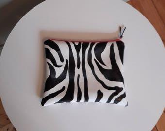 Cover Kit toilet faux leather Zebra lining fushia