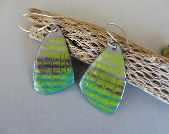 Enameled Colorful Summer Dangle Earrings Sterling Silver