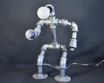 Robot Pipe Lamp, Iron Pipe Lamp, Galvanized Robot Lamp, Robot Lamp, Industrial Lamp, Steampunk Robot Lamp, Steampunk Lamp
