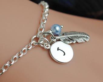 Personalized Feather Charm Bracelet, Feather Bracelet, Feather Jewelry, Adjustable Bracelet, Sterling Silver Bracelet, Inital Bracelet