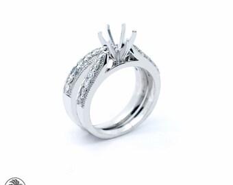 Diamond Semi Mount, Classic Design,Semi Mount Ring with Miligrain, Diamond Engagement Semi-Mount,Round Diamond Engagement Ring,  | LDR02451