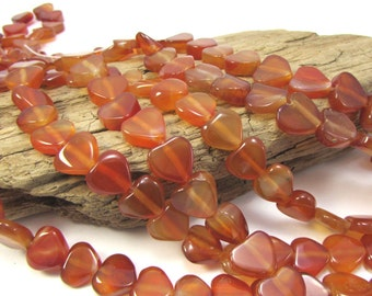 Red Agate Heart Beads, 15 inch Strand, Red Heart Beads, Gemstone Heart Beads, Beading Supplies, Item 1238ag