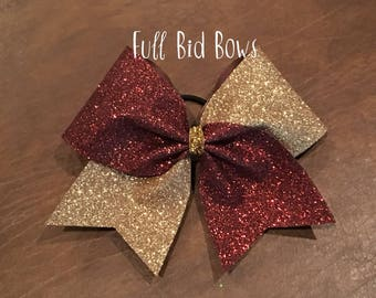Cheer Bow - Brown and Gold Glitter