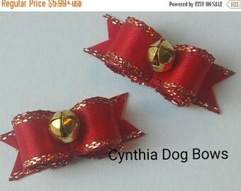 20% OFF CLEARANCE Cynthia Dog Bows- 3/8 Pair Red & Gold Christmas Jingle Bells
