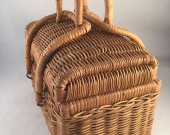 Vintage Wicker Sewing Basket with Unique Interlocking Over the Top Handles