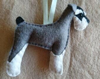 Miniature Schnauzer...Hand stitched ornamental felt dog filled with Soil Association certified 100% organic wool