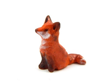 Tiny Red Fox Sculpture, Hand-Sculpted Miniature Fox Figurine, OOAK Polymer Clay, Fairy Garden, Terrarium