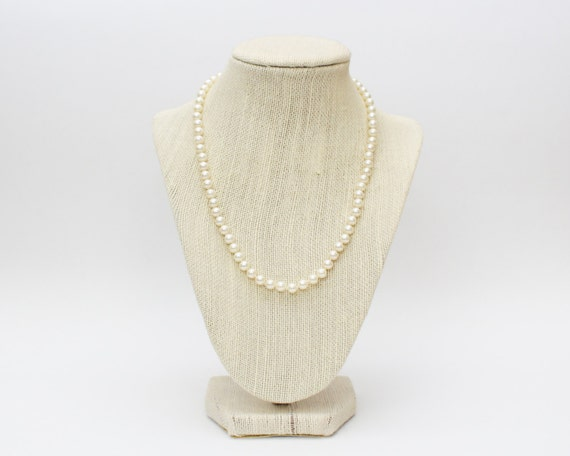 50s Pearl Necklace - Vintage 1950s Single Strand 18 Inch Pearls
