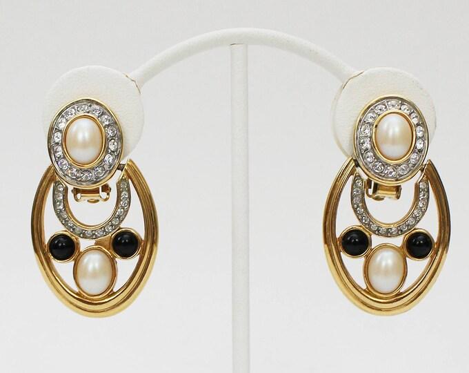 60s Pearl and Rhinestone Door Knocker Earrings - Vintage 1960s Gold Statement Earrings Signed Essex