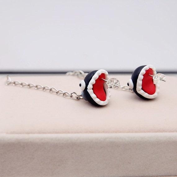 Super Mario Bros Earrings Chain Chomp Ball Piranha Plant