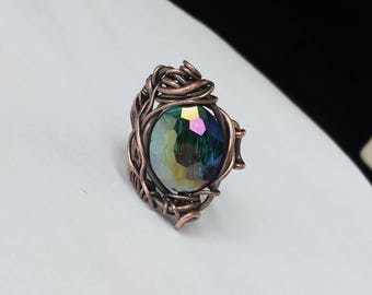 Adjustable ring, Copper ring with glass bead