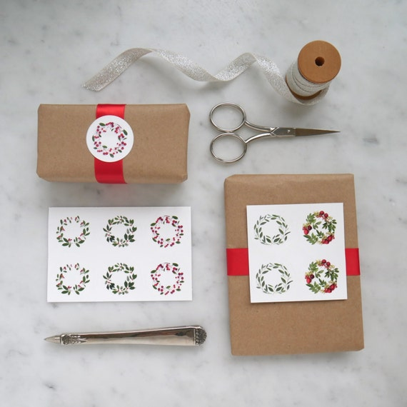 Botanical art ~ set of ten round stickers ~ green and red