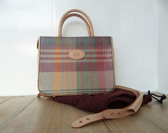 Vintage Mulberry Small Handbag in Tartan Pattern Coated Canvas and Leather Trims with Spare Handles and Dustbag 1980's