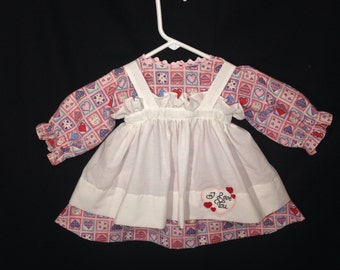 Dress and Apron for 30 INCH Raggedy Ann Doll, Pink with Hearts Patchwork Dress With Embroidered Apron, doll clothes