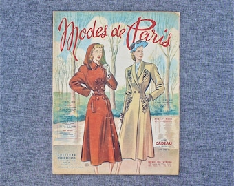 vintage French fashion newspaper, Modes de Paris weekly journal, 1940's French fashion & sewing patterns, vintage French women's magazine