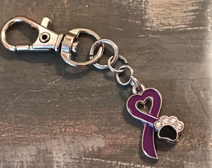 Animal abuse Rescue awareness purple ribbon paw print charm purse clip