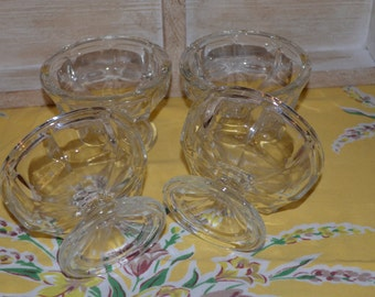 Set Of Four Clear Glass Sherbert Dishes