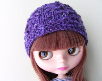 Blythe Basaak Doll Hat, Doll Beanie Hat, Knitted Doll Hat, Neo Blythe Accessories, Purple Blythe Hat, Blythe Fashion, Doll Knits