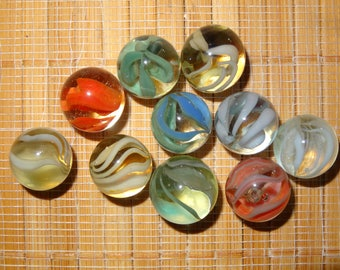 Lot of 10 Vintage Marbles / Caged Cat's Eye Marbles / Glass Marbles / Toy Marbles / Game Marbles / Craft Supplies / Jewelry Supplies