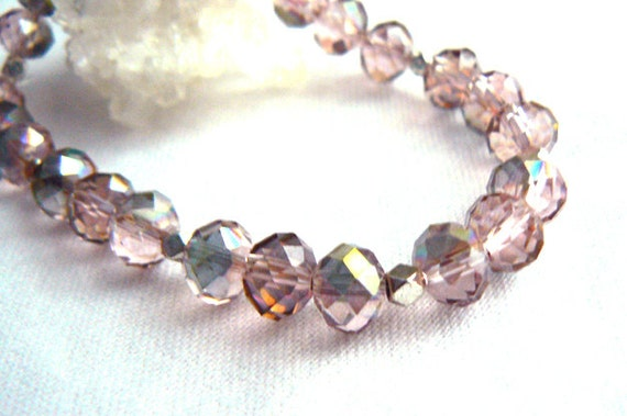 Watermelon crystals stretch bracelet- Sparkle pink green crystals bracelet - Fashion crystals jewelry- Gift for wife, women gift