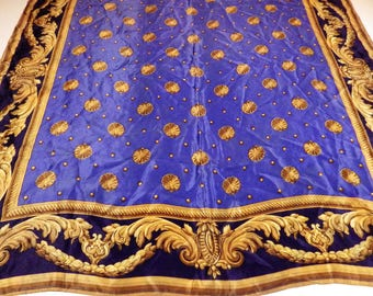 """1980s Vintage ECHO Silk Scarf 30"""" Square Blue Gold Shell"""