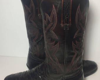 Lucchese Cherry Burgundy Ostrich Western Cowboy Boots Men's Sz 9.5 D