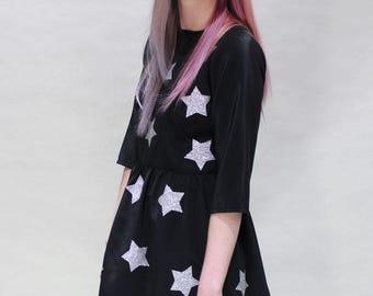 Silver Glitter Star Dress