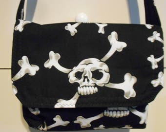 Black And White Skull and Crossbones Fabric Small Messenger Bag