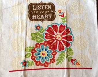 Listen to Your Heart With Flowers  Crocheted Top Towel  (R40)