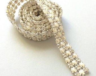 Rhinestone Trim- 3 yards 3 lines pearl- rhinestones bridal sash cake decoration embellishement dress accent