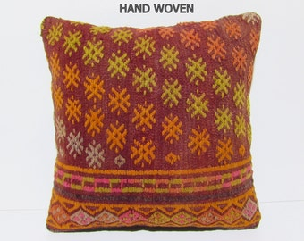 kilim pillow 20x20 handmade pillow cover euro pillow sham vintage decor large antique pillow tribal rug pillow couch pillow orange rug B2089