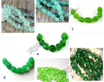 More Color~7pcs (10-15mm) SM Green Tumbled Nuggets Cultured Sea Glass Beads~Jewelry Making Supply~Beach Glass Beads