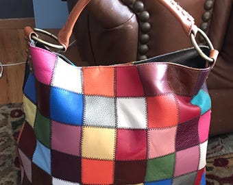 Stella and Max large patchwork Hobo leather purse