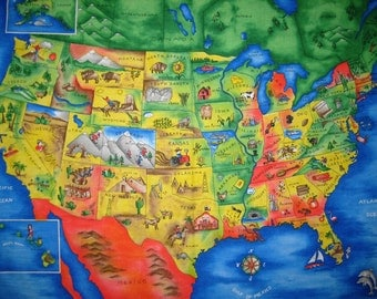 USA Map 4735 Cotton Fabric Panel Map! [Sold by the Panel]