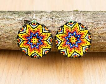 Huichol Star Circular Earrings
