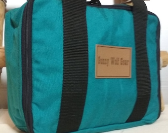 teal butterfly cosmetics / tablet / travel bag