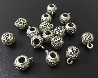 20pcs 10 mm Tibetan Beads Large Hole Bail Beads ,Antique Silver Charms  Jewelry