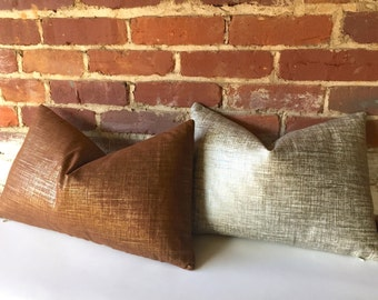 Metallic Linen Pillow Cover in Platinum/silver or Copper/gold-345Y