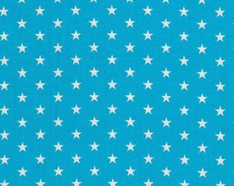 waxed fabric laminated fabric Cotton 0,5 m Stars turquise grey
