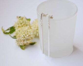 Long dangle stud earrings, sterling silver