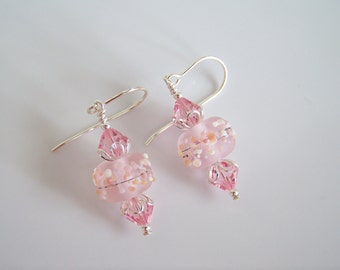 Frosted Pink Artisan Lampwork and Crystal Earrings - Item E2269