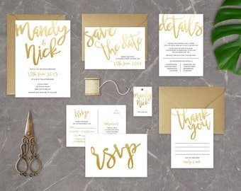 Gold Simple Handwritten DIY Printable Wedding Invitation | Main Invitation | Save the Date | RSVP | Details | Thank You | Favour Tag